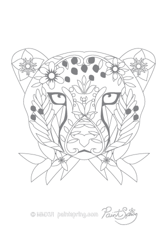 Cheetah Adult Coloring Page
