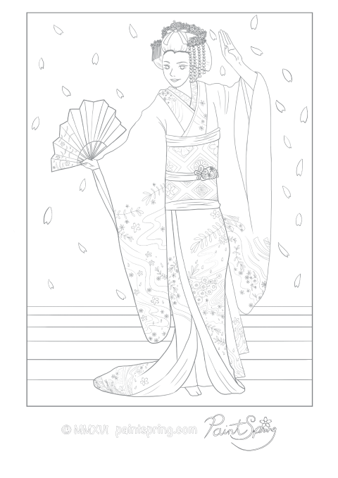 Printable Japan Adult Coloring Book PaintSpring