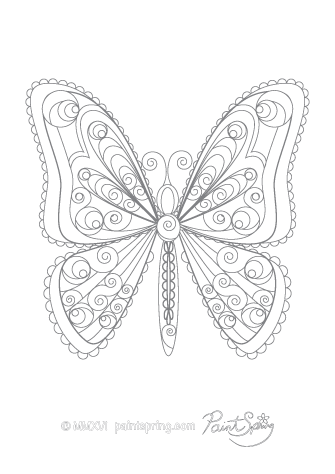 Detailed Butterfly Coloring Page