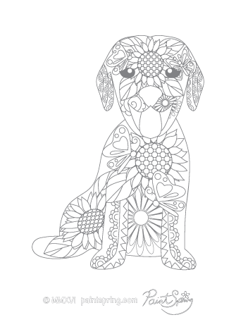 Dog Adult Coloring Page