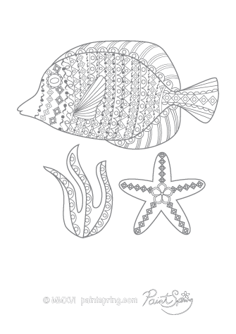 Fish Adult Coloring Page