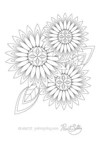 Printable Flower Adult Coloring