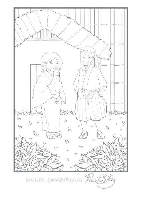 Japanese Couple in Traditional Clothes Adult Coloring Page
