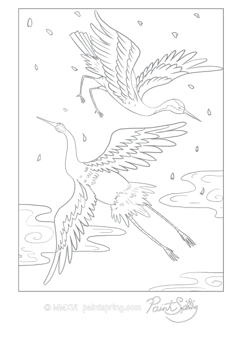 A pair of Japanese cranes flying adult coloring page.