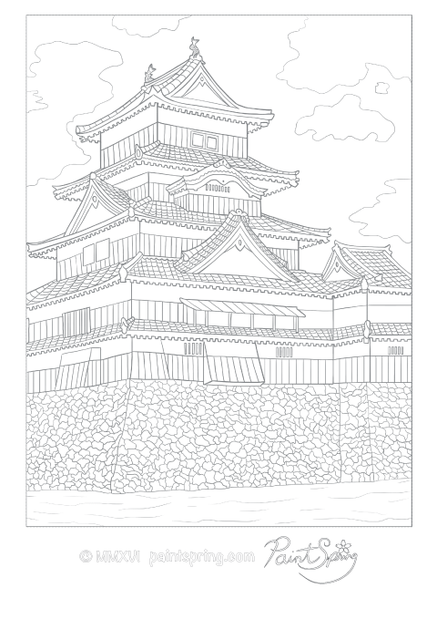 This is a detailed adult coloring page of a Japanese castle that is known as the crow castle . It is also called Matsumoto Castle.