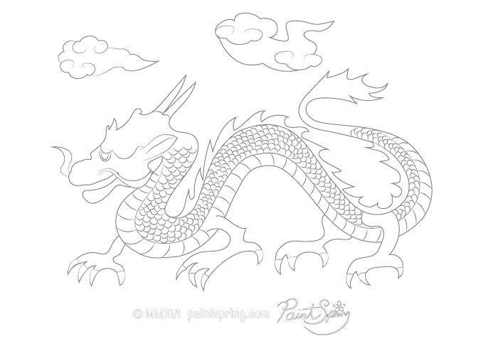 Japanese Dragon called Ryu in Japan Adult Coloring Page