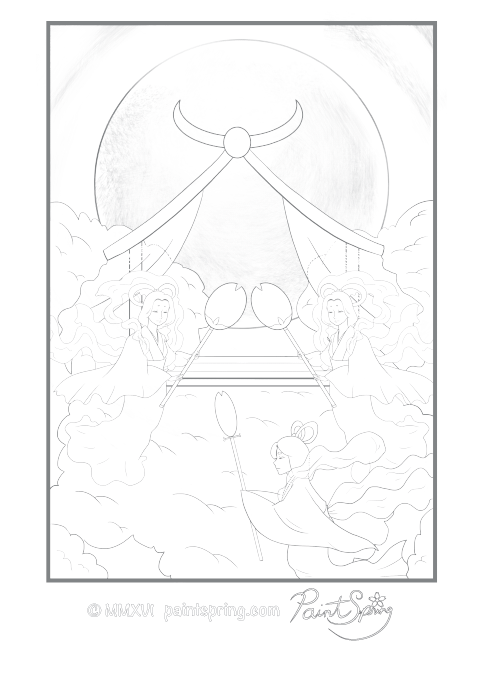 Japanese Fairy Tale Adult Coloring Page