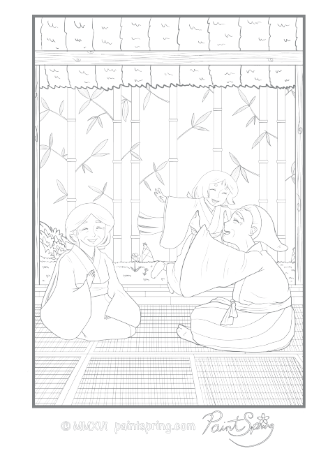 Happy Japanese Family in a House with Tatami Mats Adult Coloring Page