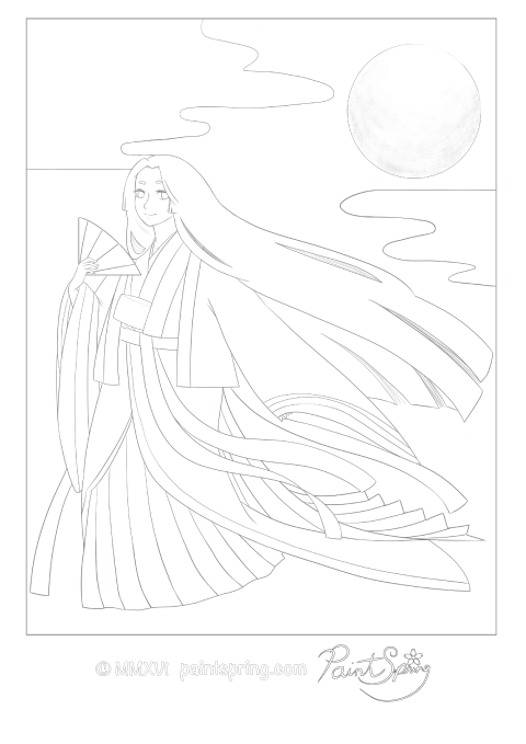 Adult coloring page of a Japanese girl from the Heian period wearing a traditional junihitoe which is an elegant and complex kimono. She also is holding a japanese dancing fan and the the moon is in the background.
