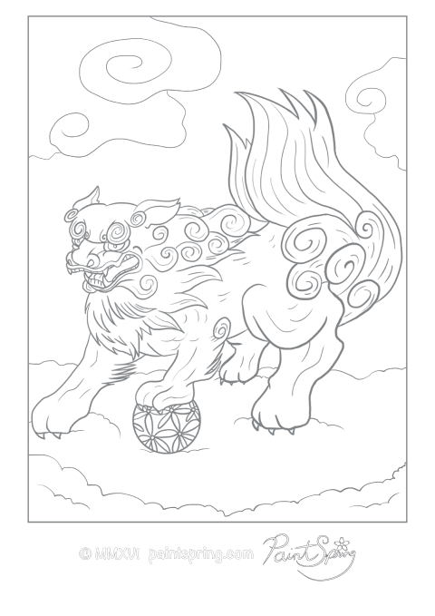 An adult coloring page of a Japanese lion-dog called komainu in Japan.