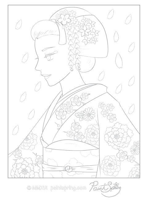 Japanese Maiko Girl Detailed Coloring Page