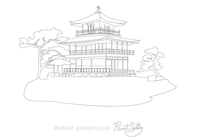 Temple of the Golden Pavilion adult coloring page.