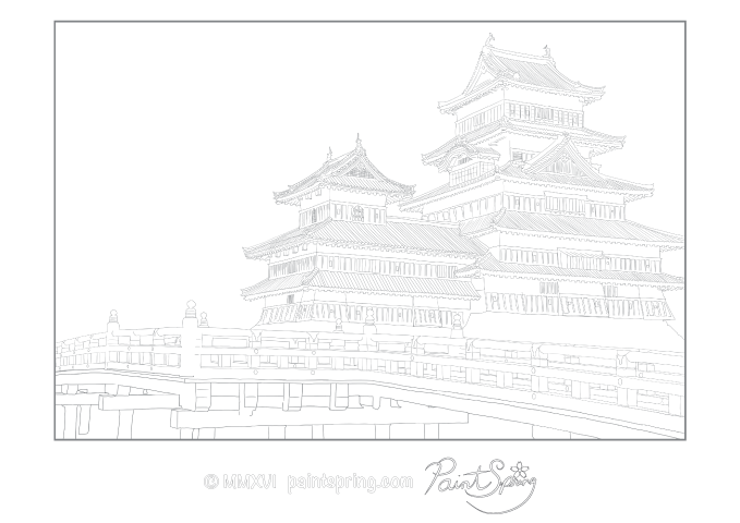 Matsumoto Castle adult coloring page featuring the bridge. A landscape or horizontal view.