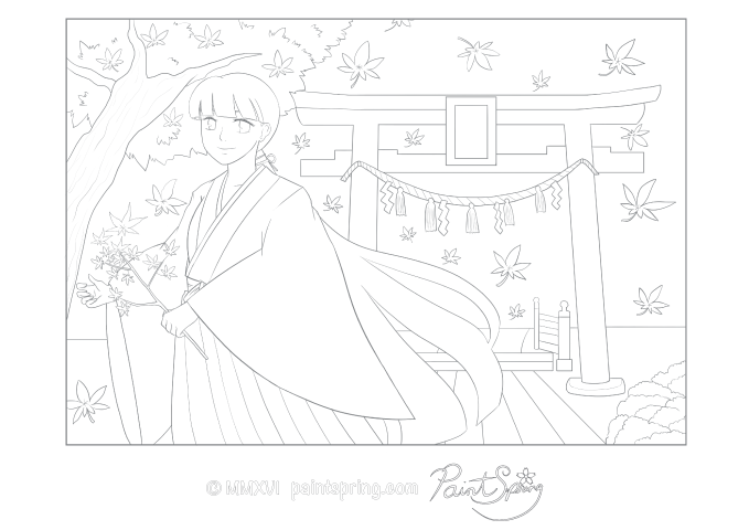 A detailed coloring page of a Miko shrine maiden who takes care of shrines in Japan with a torii gate in fall with autumn leaves all around.