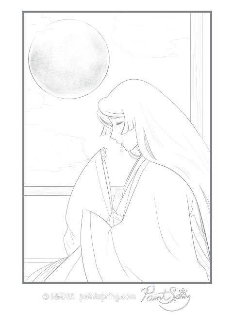 Moon Princess Crying Coloring Page