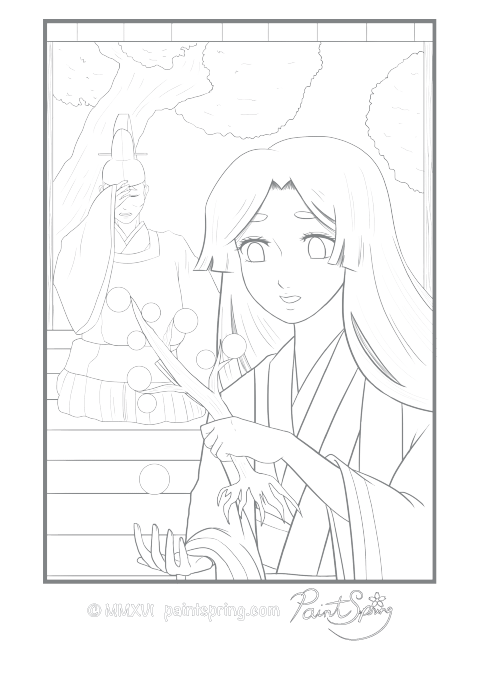 Moon Princess Folklore Coloring Page