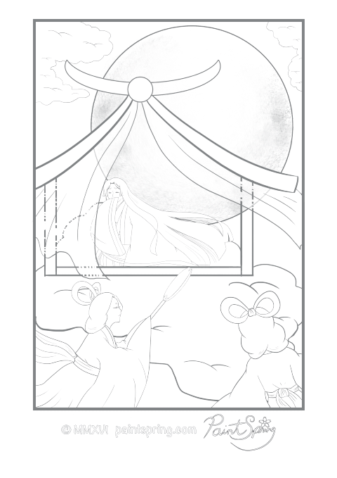 Moon Princess Folktale Adult Coloring Page