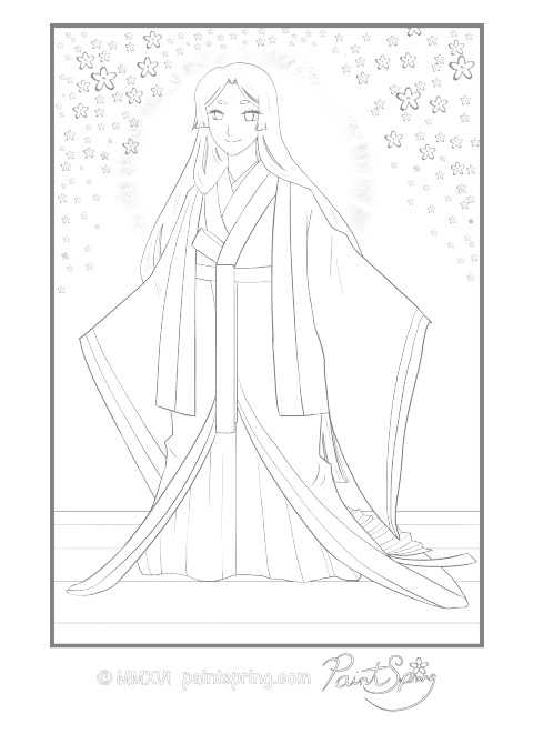 Moon Princess Junihitoe Coloring Page