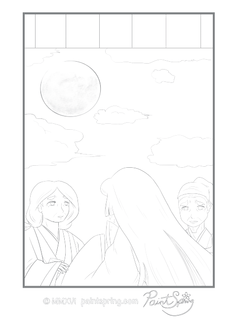 Moon Princess Leaving Adult Coloring Page