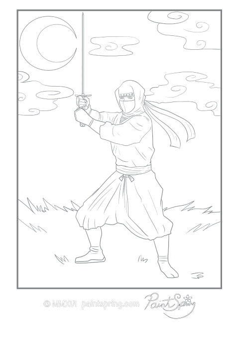 Ninja adult coloring page. The ninja is holding a sword in a fighting stance with the moon in the background.