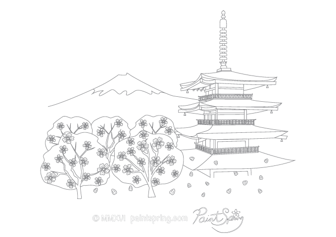 Chureito Pagoda in Yamanashi adult coloring page featuring cherry blossoms and Mount Fuji.