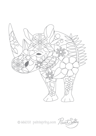 Rhinoceros Adult Coloring Page