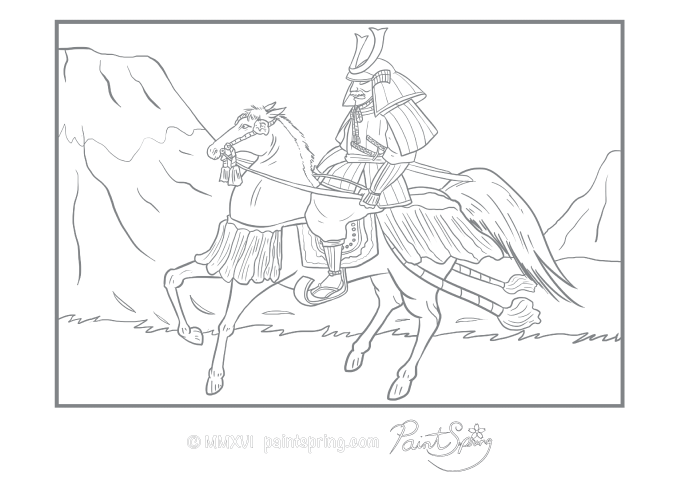 This adult coloring page features a Japanese samurai riding a horse. The samurai and the horse are both wearing armor.