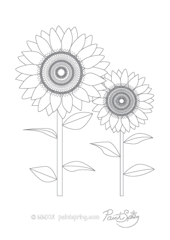 Sunflower Adult Coloring Page