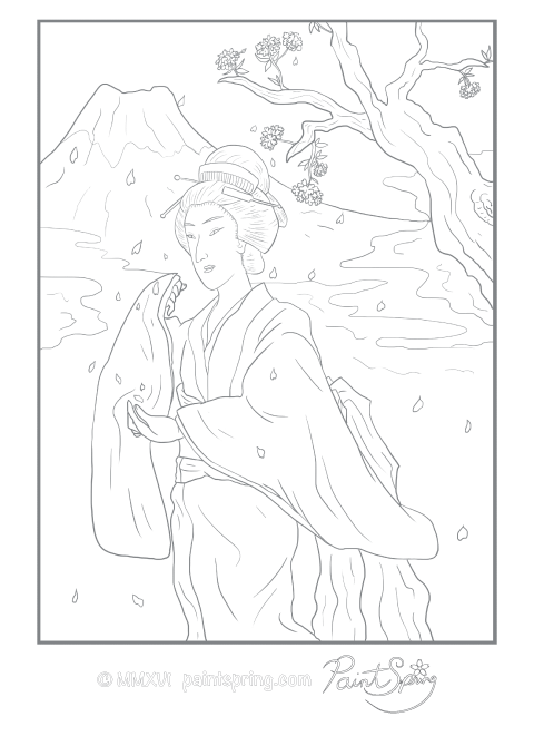 This ukiyo-e style adult coloring page features a Japanese girl in a kimono with Fuji mountain in the background during cherry blossom season.